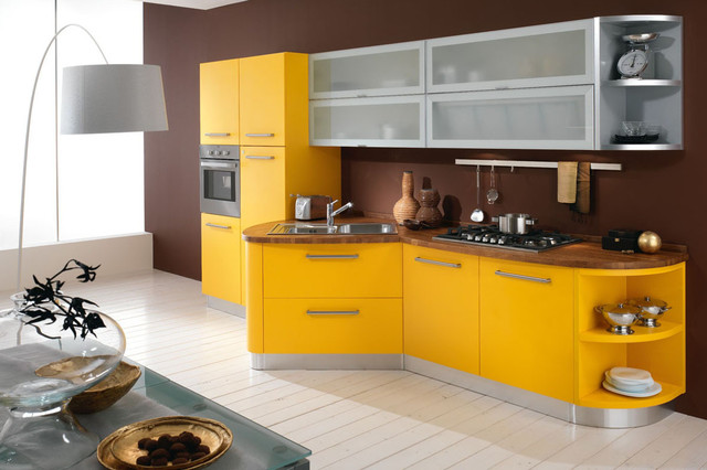 Желтая кухня в стиле модерн фото 2