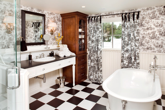ванная в черно-белом стиле фото