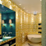Золотой цвет в ванной фото