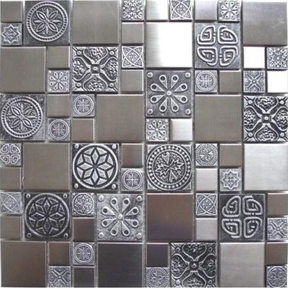 металлическая мозаика в интерьере